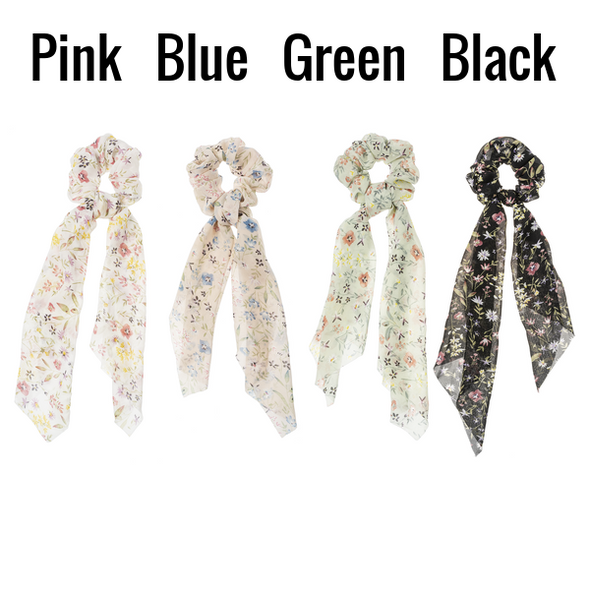 Rose pattern scrunchie scarf