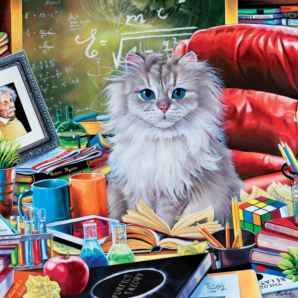 Cat-Ology Einstein 1000 Piece Square Jigsaw Puzzle by Jenny Newland