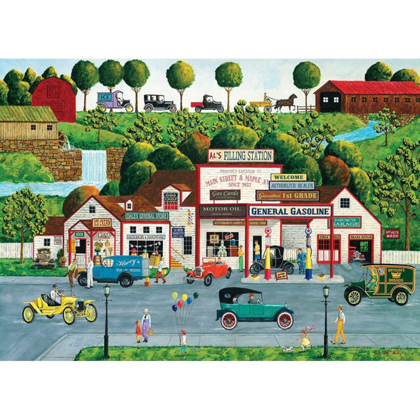 Hometown Gallery - The Old Filling Station 1000 Piece Jigsaw Puzzle by Art Poulin
