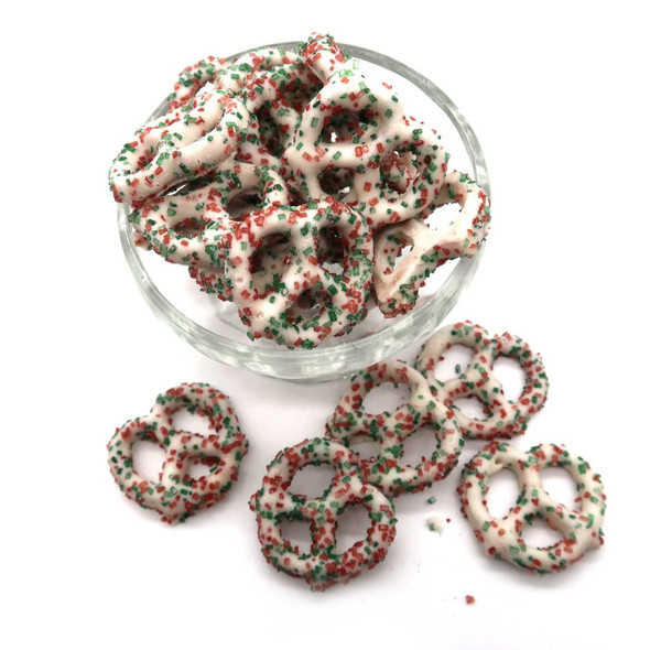 White Pretzel Red and Green Sugar 8 oz Pretzels The Nut House
