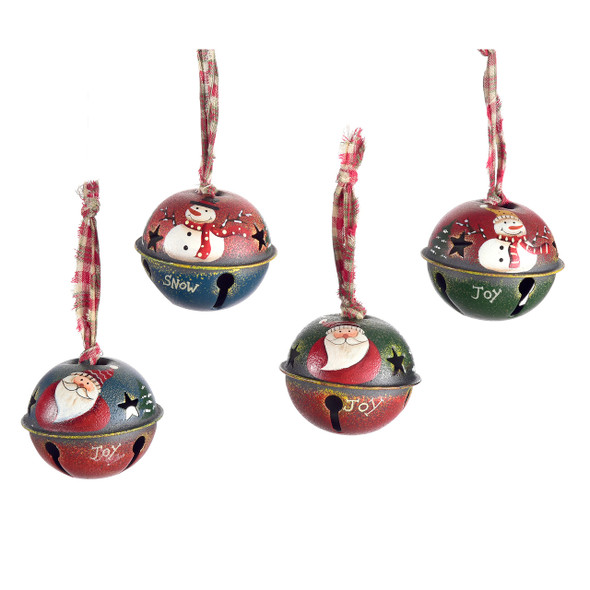Jingle Bell ornament 4 asst designs Santa or snowman