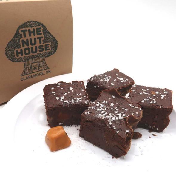 Dark Chocolate Caramel Sea Salt Fudge - 1 lb. Homemade Fudge The Nut House