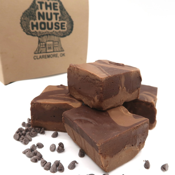 "Chocolate and milk chocolate fudge swirled together. A delicious option for the purist who wants ""Just plain chocolate"" fudge."