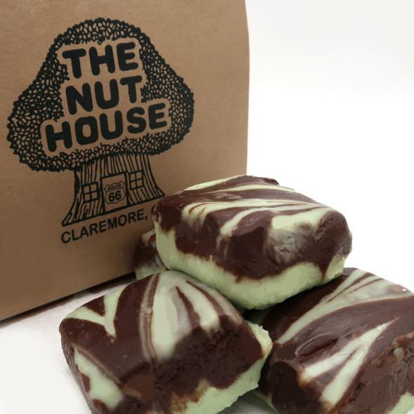 A layer of Chocolate Fudge swirled with fresh Mint Fudge. Yummy! Gluten Free