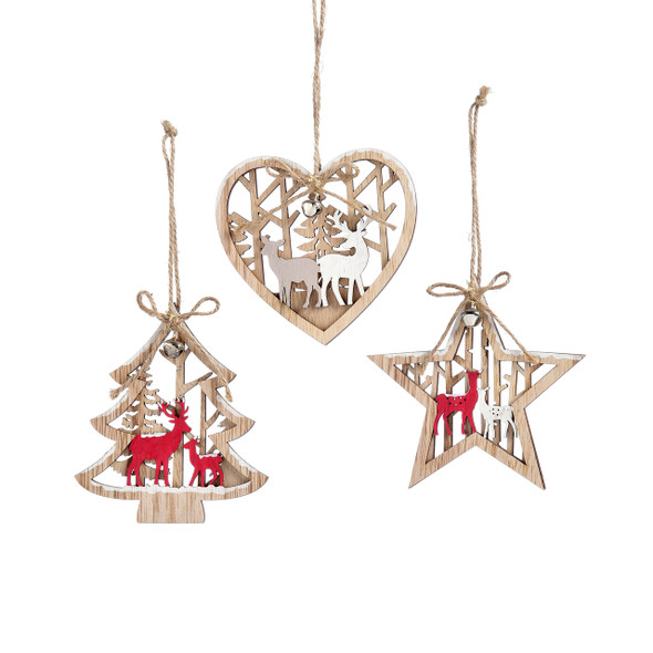 Intricate laser cut wooden ornament features outdoor scenes overlaid with painted reindeer, enclosed in iconic holiday shapes. Makes an elegant addition to the tree and a beautiful package decoration. Natural wood 4.3x4.1(in)