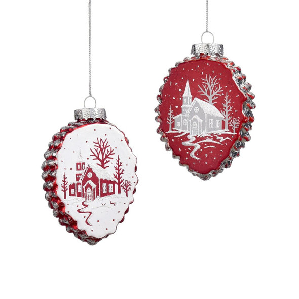 Glass pine cone ornament in red or white with hand painted church design.