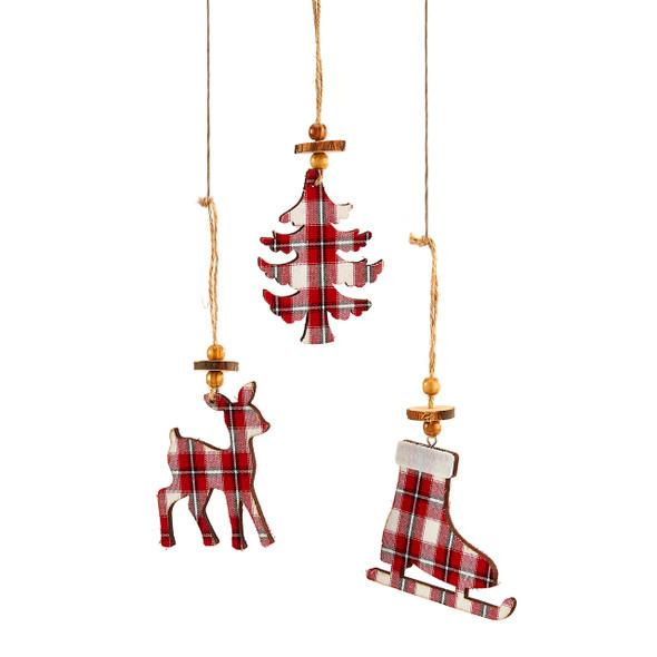 Plaid shaped ornament in deer, tree, or skate design