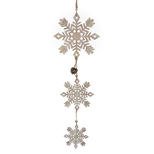 Snowflake wall decor hangs almost 30 inches down for an impressive yet simple display.