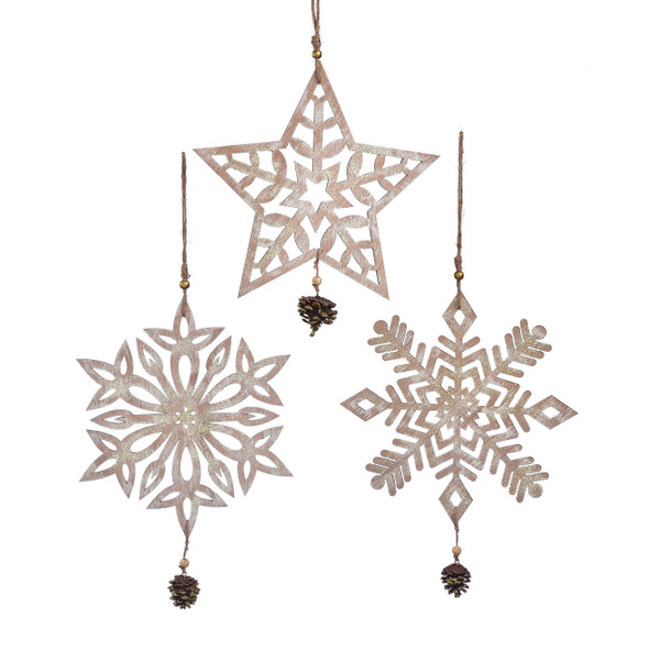 Wooden snowflake with star, trifold or diamond pattern