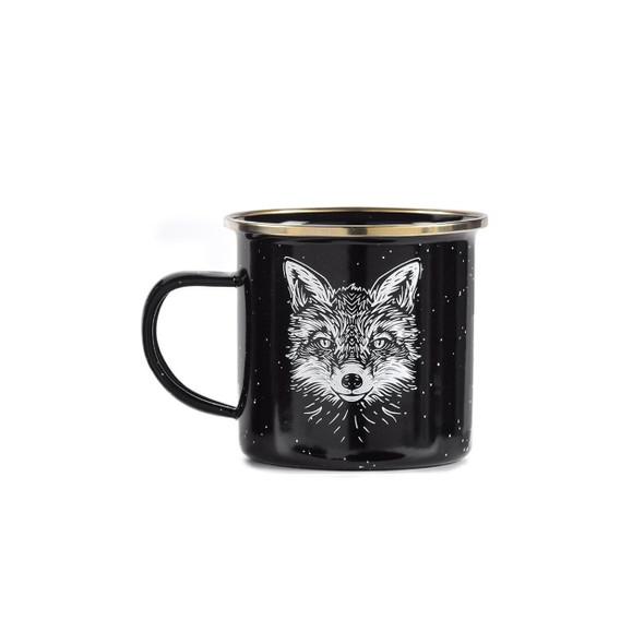 Black fox mug enamelware with gold rim