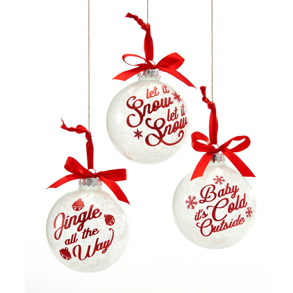 Frosted Glass Bow Ornament red bow three assorted sayings
