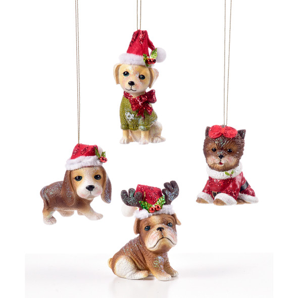 Santa Hat Dog Ornament