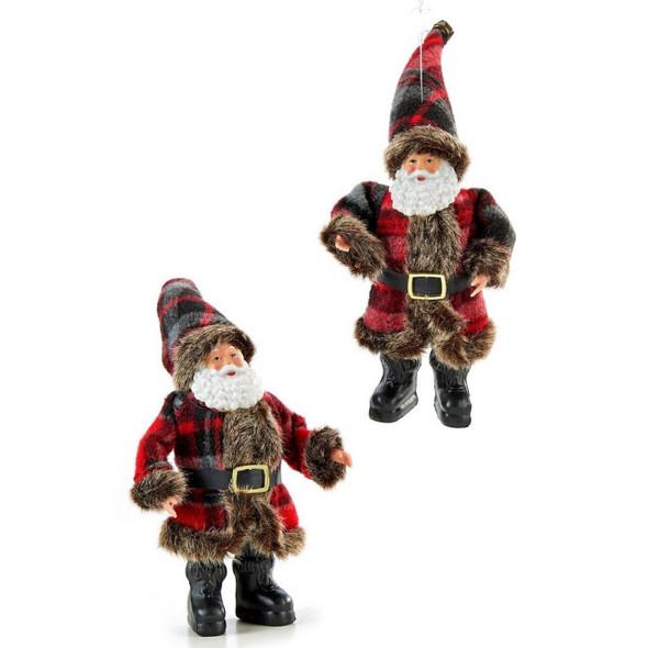 Plaid Santa ornament