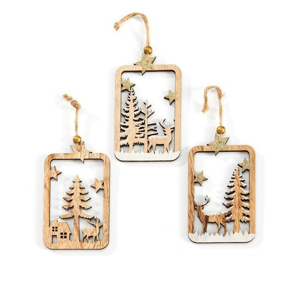 Forest winter scene Cut Out ornament with tree.
