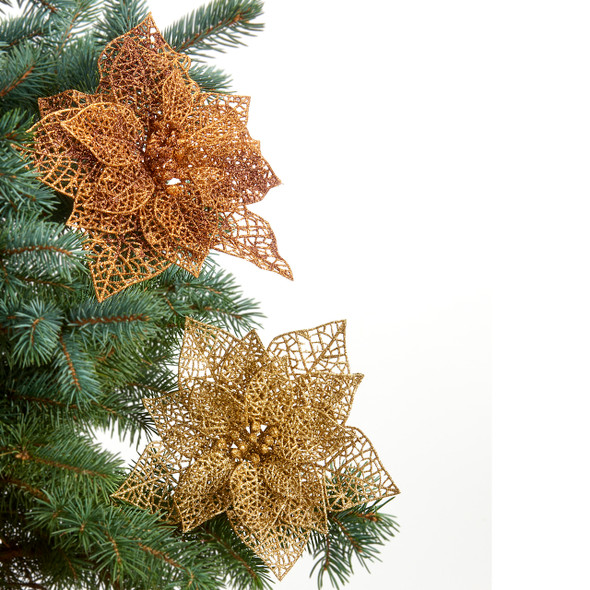 Copper or Gold cut out poinsettia clip on ornament