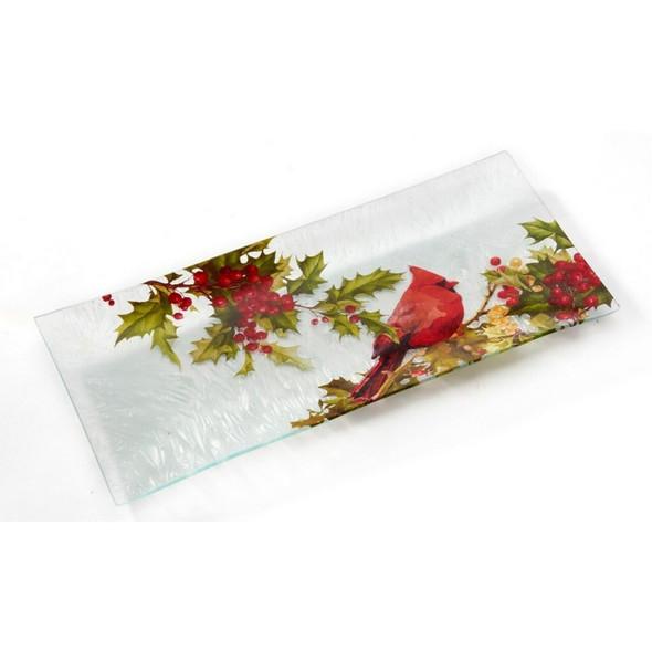 Decorative cardinal plate of glass