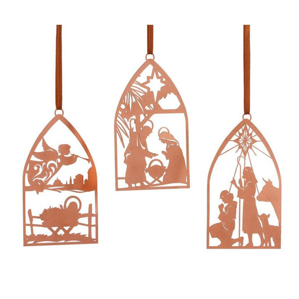 Metal Nativity Ornament With Silhouettes Of Holy Scenes