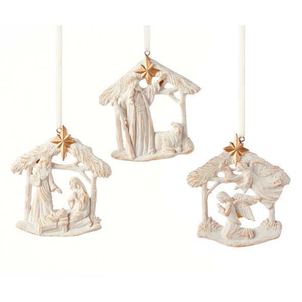Nativity Scene Ornament in polystone with white and gold accents