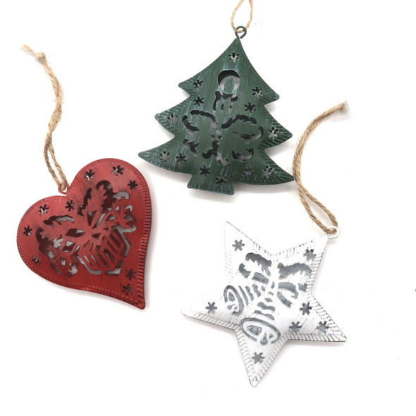 3D Metal Laser Cutout Ornament Set of 3