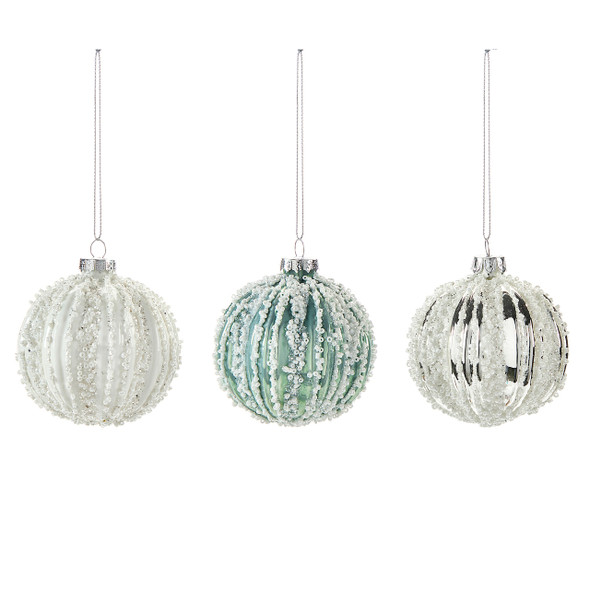 Beaded ornament in white green and silver