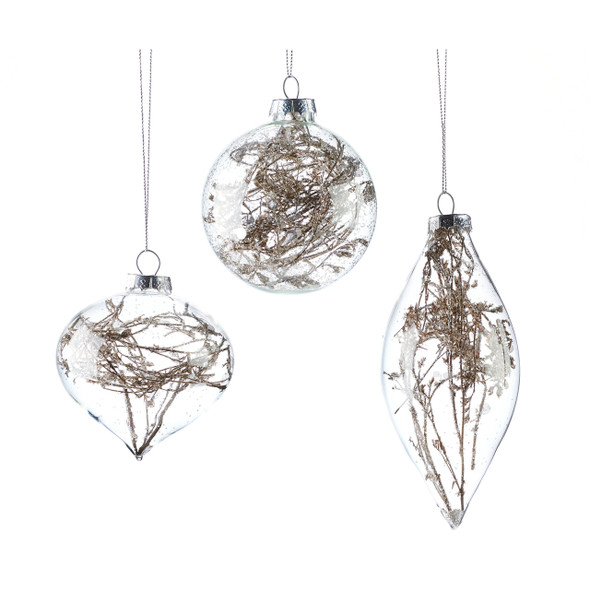 Glass terrarium ornaments twigs in glass shaped globes