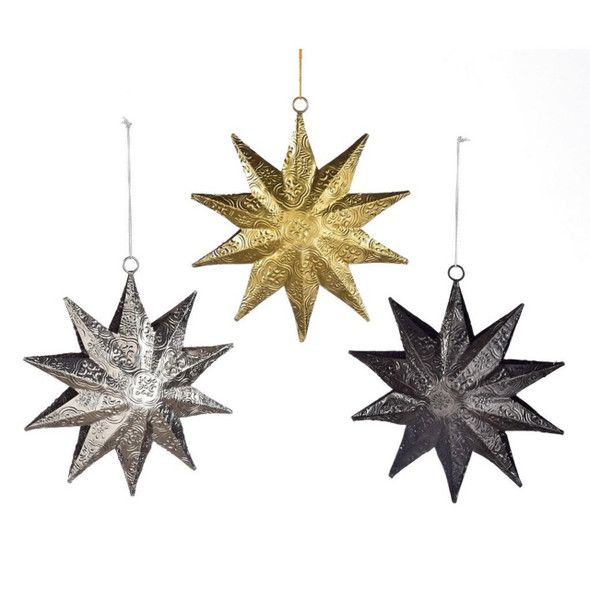 An ornate embossed pattern details this hanging star decoration, perfect for adding a festive yet modern touch to a space. 3 Assorted Colors: Silver, Gold, Black. Metal. Sold individually.