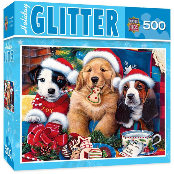 Holiday Glitter Santa Paws - Adorable Puppies 500 Piece Jigsaw Puzzle by Jenny Newland