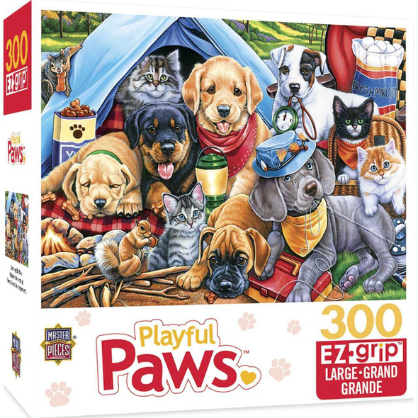 Playful Paws Camping Buddies - Large 300 Piece Ezgrip Jigsaw Puzzle by Jenny Newland Jigsaw Puzzles The Nut House