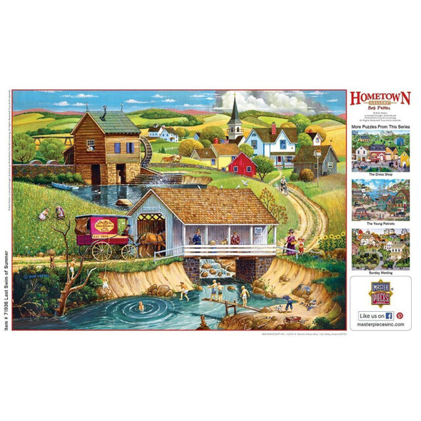 "These MasterPieces 19.25"" x 26.75"" 1000pc Hometown Gallery Puzzles are painted by the talented folk artist,Bob Pettes, and they feature beautiful, vintage scenes that remind us all of simpler times.  To reduce their impact on our environment, the chipboard used in these puzzles is made of recycled material."