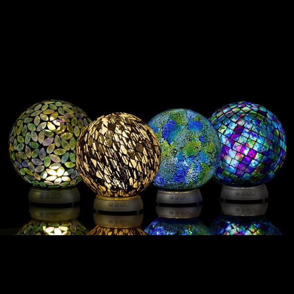 "Beautiful glass garden orb for indoors or out does more than just look pretty- it's also a lighted bluetooth speaker! LED lighted sphere has settings for high and low luminosity and a 2 hour battery life. Comes gift boxed.  8"" x 8.5""  Choose from one of 4 colors."