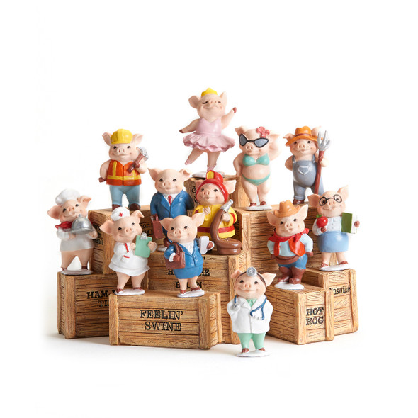 Professional pig figurine comes in one of 12 assorted designs
