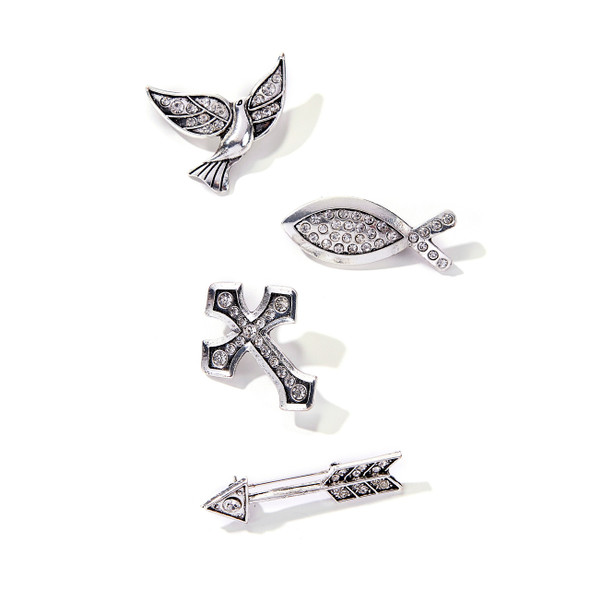 "Beautiful silver brooch pins with rhinestone accents are the perfect gift for someone on a spiritual journey. Choose from cross, fish, dove (bird) or arrow. Pins are about 2"" across."