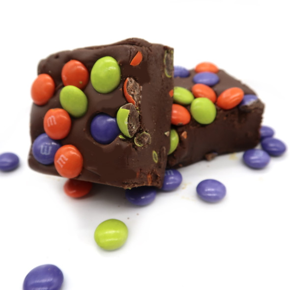 Halloween colored M & M chocolate fudge.