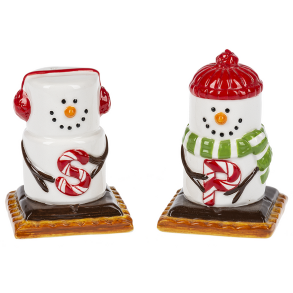 "Adorable collectible marshmallow S'more snowmen characters all dressed up for your winter table! ""Salt"" has earmuffs and ""Pepper"" sports a scarf and hat. Ceramic. 2"" W. x 2"" D. x 2 7/8"" H."