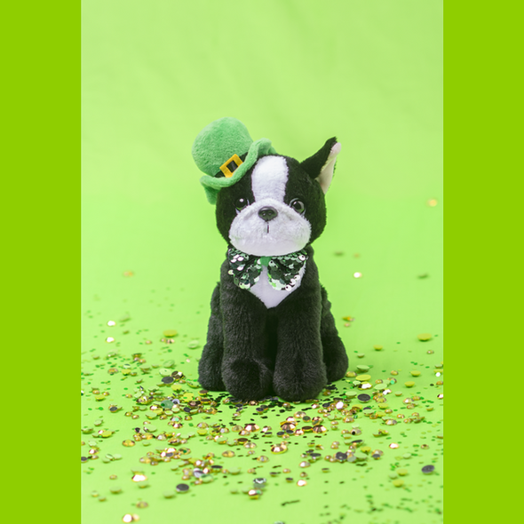 "You will love this little bug-eyed guy- plushie bulldog sports a green bowler hat with a gold buckle and a dandy sequined bow tie! Unique gift for anyone who loves bulldogs, Frenchies, Boston Terriers, or St.Patrick's Day! Stands 9.5"" tall. Not for children under 3."