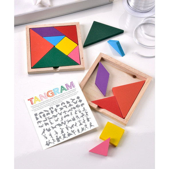 Tangram puzzle with instruction diagram challenges the mind to think in shapes and encourages spatial learning