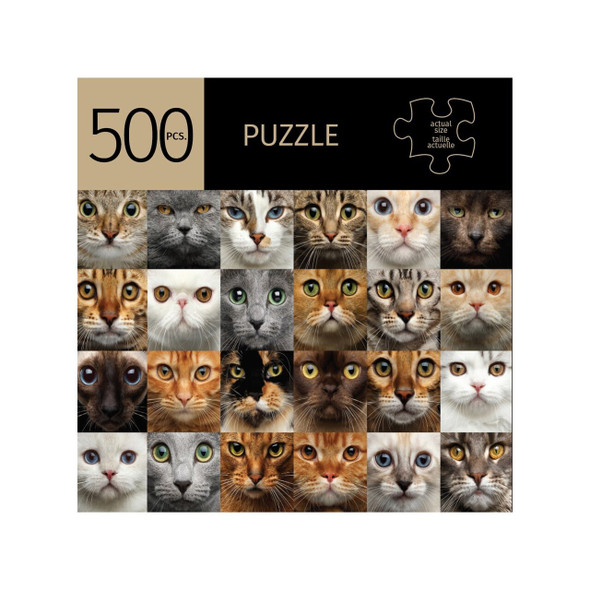 Keep your mind sharp, strengthen your short term memory and logical thinking, and lift your spirits by challenging yourself to a puzzle. It's hard not to be in a better mood when looking into the eyes of these pretty kitties! 500 piece puzzle is 28x20inches when completed. Made from a durable recycled cardboard.