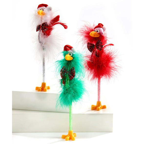 Maribou feathers, a jaunty felt Santa hat and a festive bow tie give this silly bulgy-eyed bird holiday flair! A fun office gift, stocking stuffer, or keep it to brighten your spirits when you have to balance the checkbook. Flamingo balances on one leg and writes with black ink.