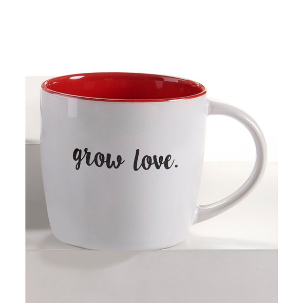 Grow Love Red And White Ceramic Mug