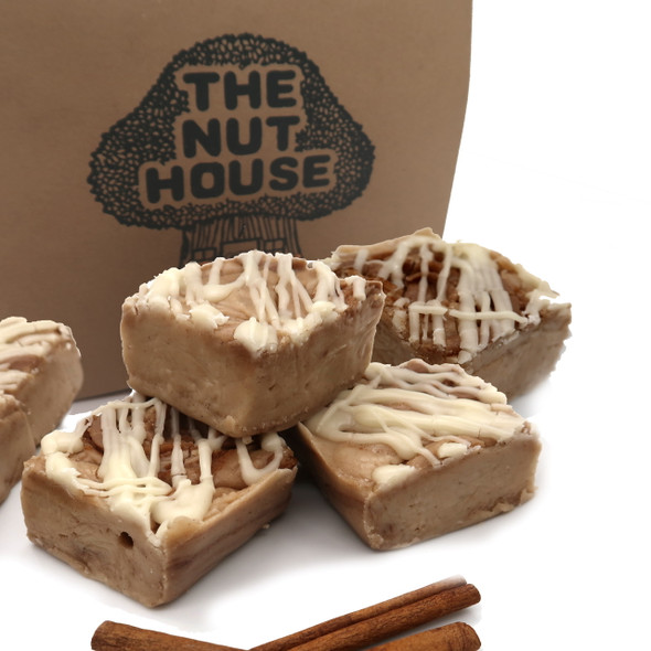 If you love cinnamon rolls with cream cheese icing you will be crazy for this fudge! Vanilla fudge wih rich cinnamon swirled thoughout and a cream cheese flavored fudge drizzled on top.