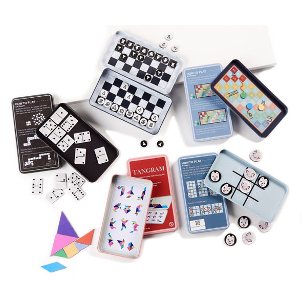 Magnetic Travel Game Magnetic pieces make it easy to play on the go and to keep your game saved for later. Pieces store in magnetic hinged metal box.