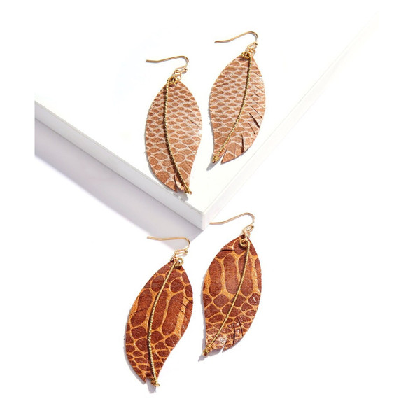 Leather leaf shaped snakeskin printed earrings in beige or brown by Giftcraft's Avenue 9
