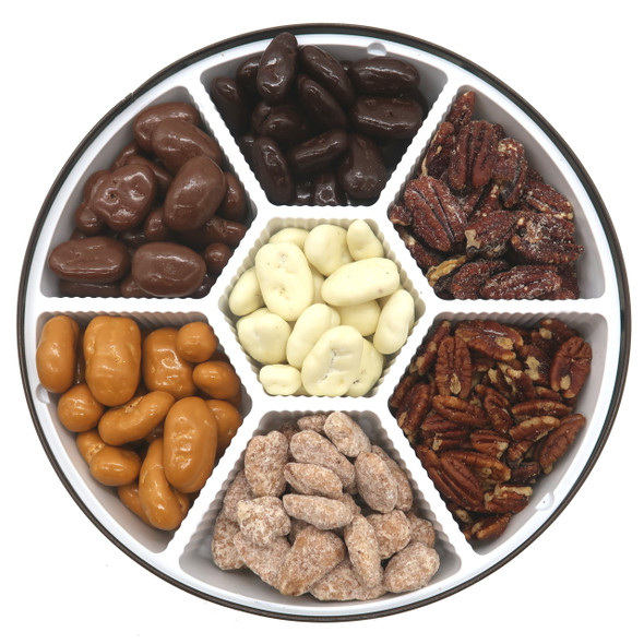 Ultimate Pecan Sampler Gift Tin with 7 kinds of coated and spiced pecans! Butterscotch, Roasted and Salted, Honey Roasted, Chocolate, Dark Chocolate, White Chocolate and Praline pecans