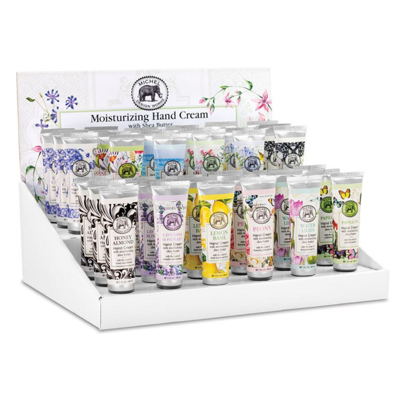 Michel Designs hand creams in a variety of scents convenient travel tubes 1 oz size made in England