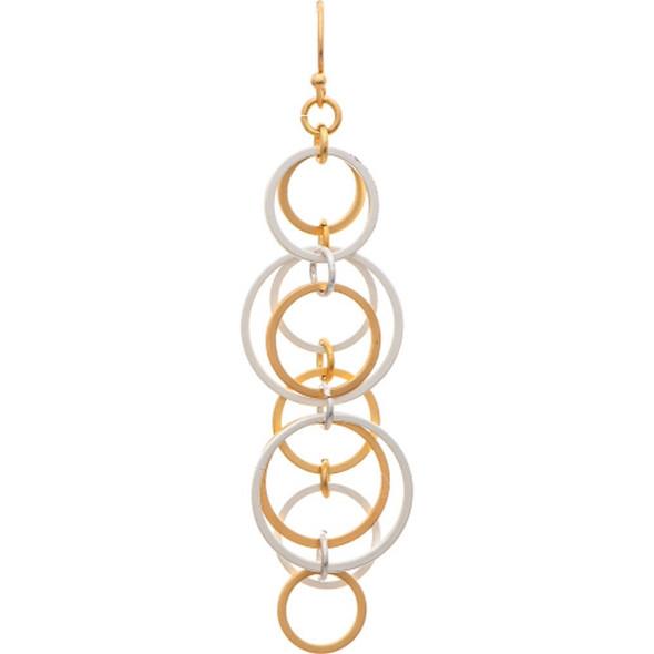 Chain Of Multi Metal Hoops Earrings