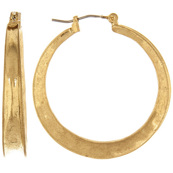 """Accessorize with these 1/4"""" wide and 1 1/2"""" diameter gold hoop which add a classic or boho flair to any outfit. Hollow on the outside creating interest and dimension."""