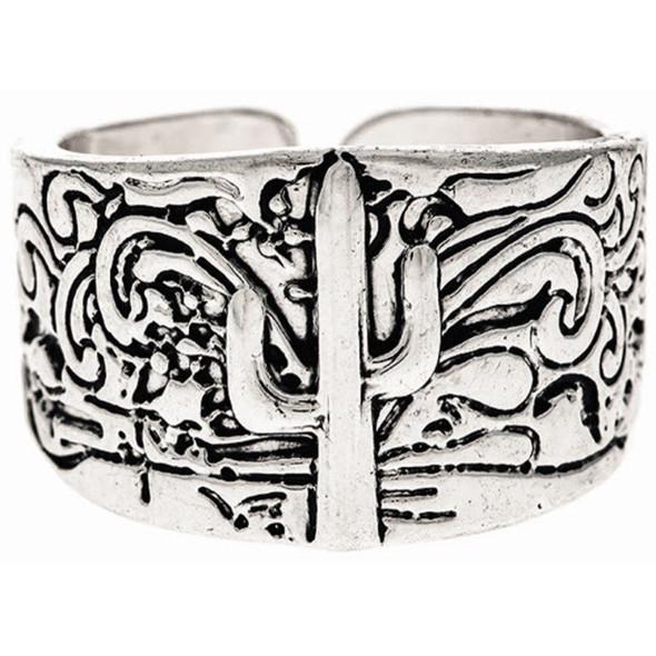 Silver Cactus Motif Adjustable Band Ring