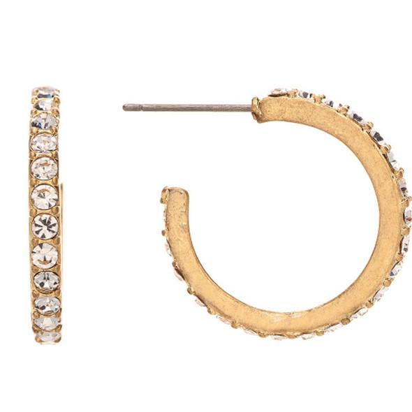 Gold Clear Crystal Hoop Earrings