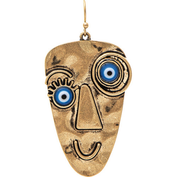 Gold Blue Googly Eye Earrings