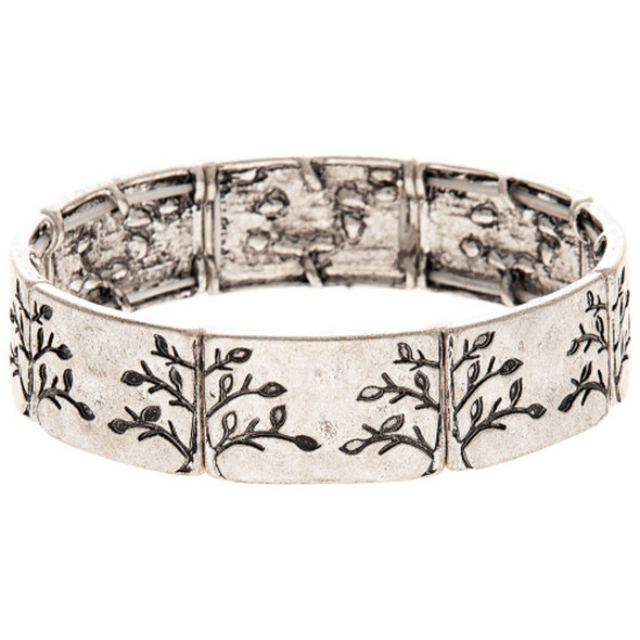 Silver Carved Tree Bracelet